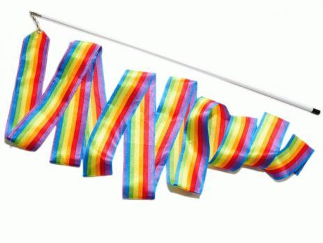 Лента гимнастическая 6м радуга с палочкой GO-DO